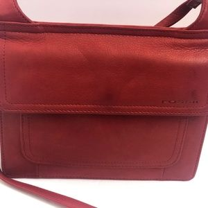Fossil Crossbody Shoulderbag Leather Red Purse Org